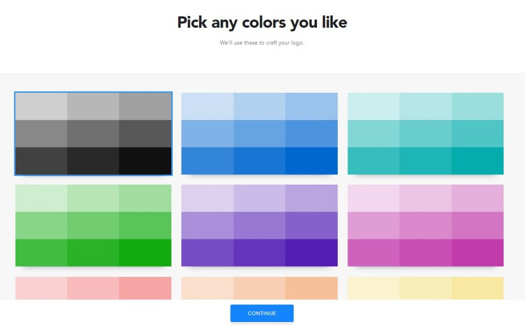 Colour palette selection