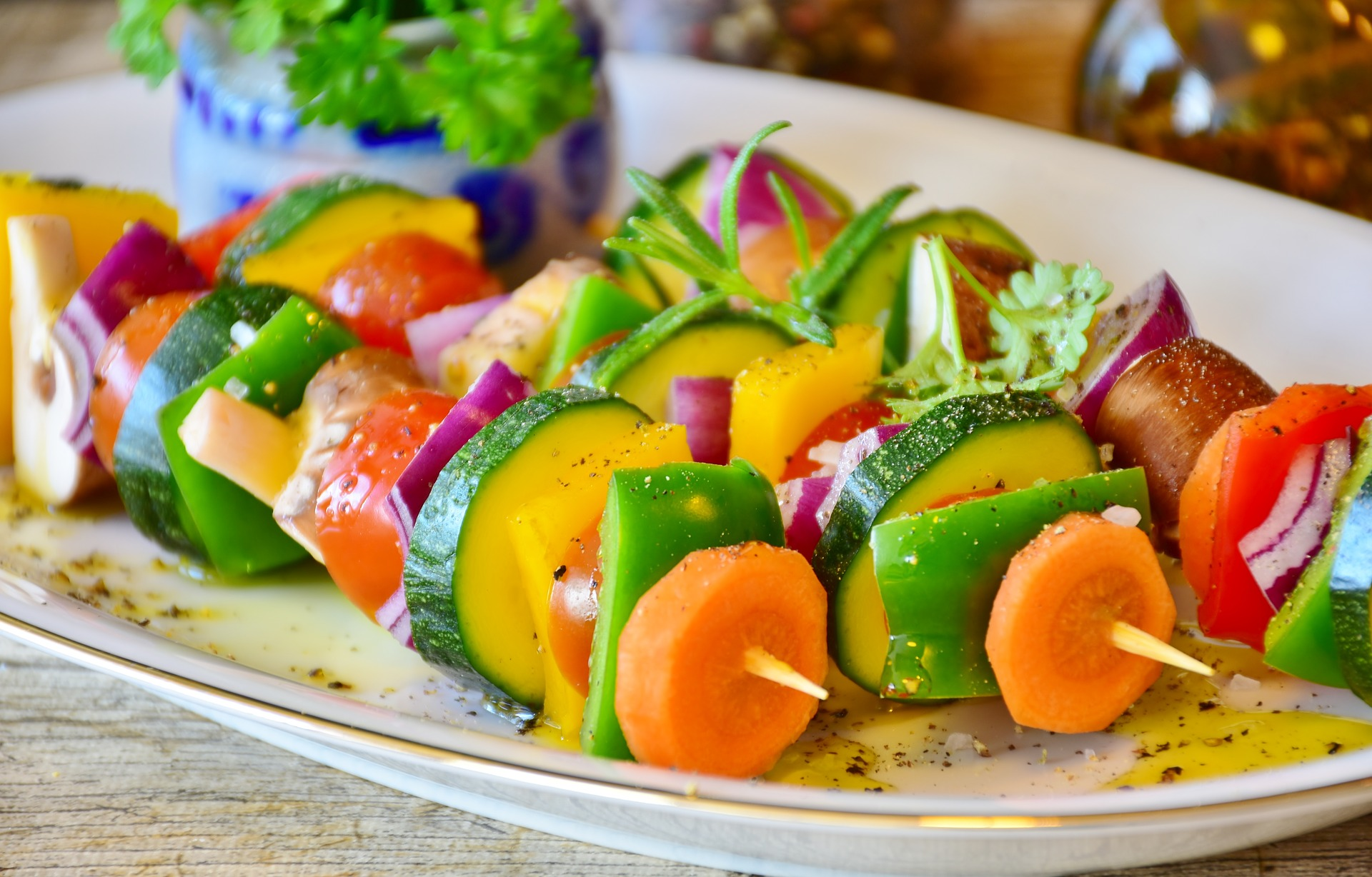 Variety of vegetables on a skewer for a vegan diet
